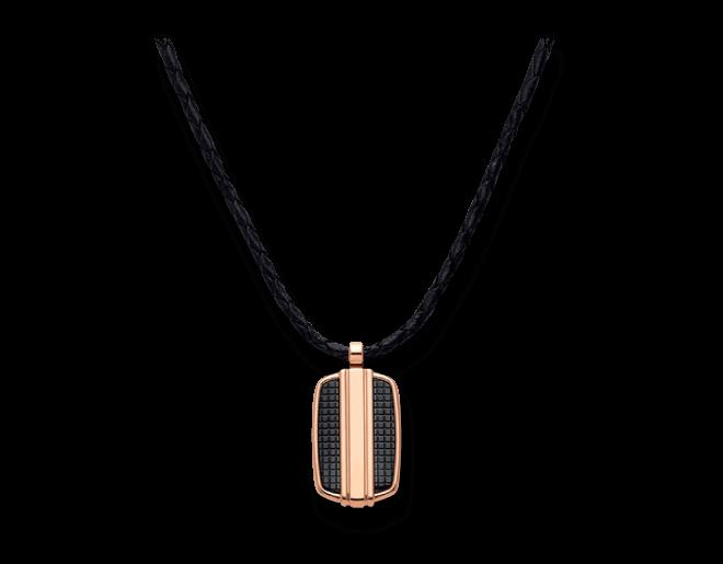 Halskette mit Anhänger Montblanc aus PVD-Beschichtung auf Edelstahl, Kalbsleder und Titan