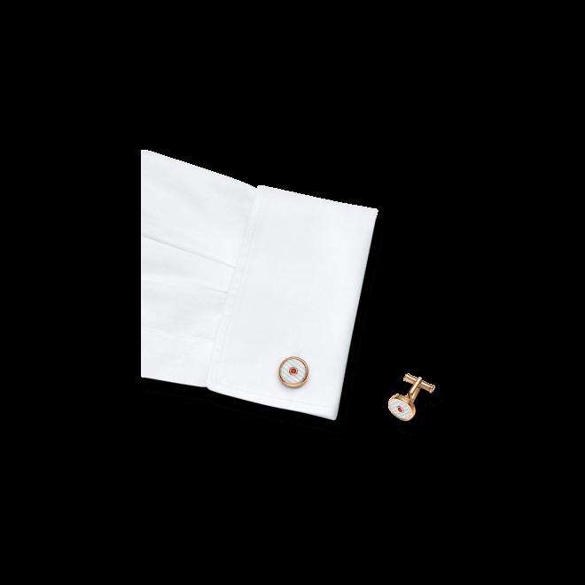 Manschettenknöpfe Montblanc Iconic aus PVD-Beschichtung auf Edelstahl mit Granat