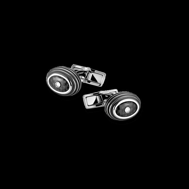 Manschettenknöpfe Montblanc Iconic Manschettenknöpfe aus Carbon und Edelstahl