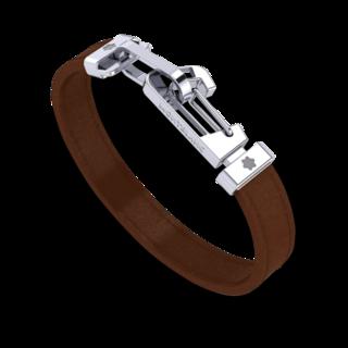 Montblanc Armband Armband aus braunem Leder mit Karabinerverschluss aus Edelstahl 12382260