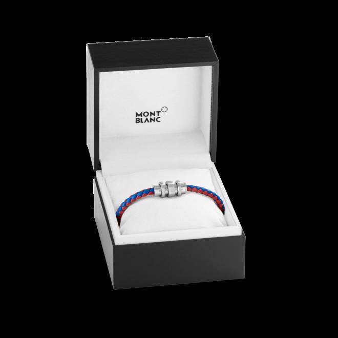 Armband Montblanc Armband aus geflochtenem rotem und blauem Leder mit Edelstahlverschluss und drei Ringen aus Kalbsleder und Edelstahl Größe L bei Brogle