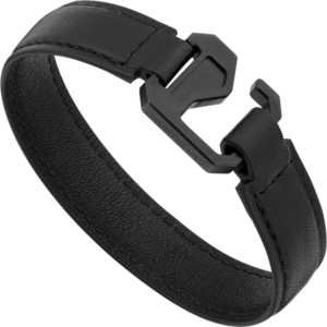 Armband Montblanc Armband aus schwarzem Leder mit Verschluss aus Edelstahl und schwarzem PVD aus Kalbsleder und PVD-Beschichtung auf Edelstahl Größe M