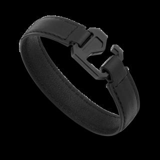 Montblanc Armband Armband aus schwarzem Leder mit Verschluss aus Edelstahl und schwarzem PVD 12382963
