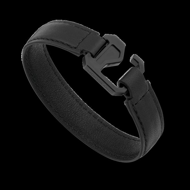 Armband Montblanc Armband aus schwarzem Leder mit Verschluss aus Edelstahl und schwarzem PVD aus Kalbsleder und PVD-Beschichtung auf Edelstahl Größe M bei Brogle
