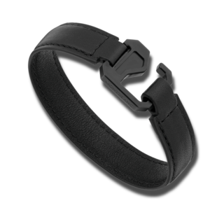 Montblanc Armband Armband aus schwarzem Leder mit Verschluss aus Edelstahl und schwarzem PVD 12382968
