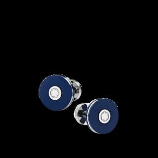 Montblanc Manschettenknöpfe Manschettenknöpfe, rund, mit blauem Harz 123812