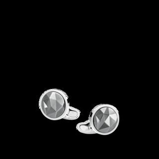 Montblanc Manschettenknöpfe Manschettenknöpfe, rund, mit schwarzer ruthenium-beschichteter Intarsie 123803