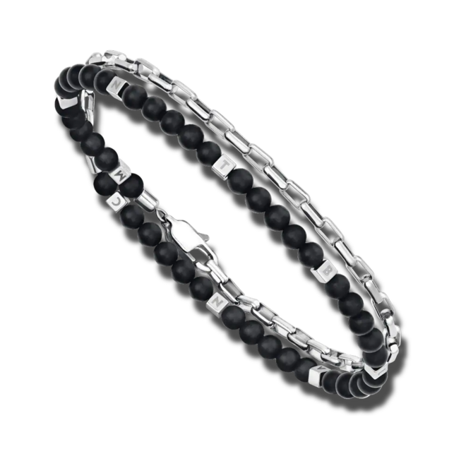 Armband Montblanc Wrap Me aus Edelstahl mit mehreren Onyxen bei Brogle