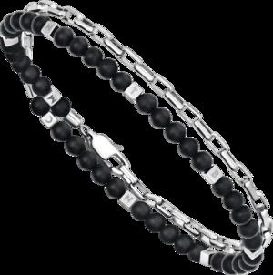 Armband Montblanc Wrap Me aus Edelstahl mit mehreren Onyxen
