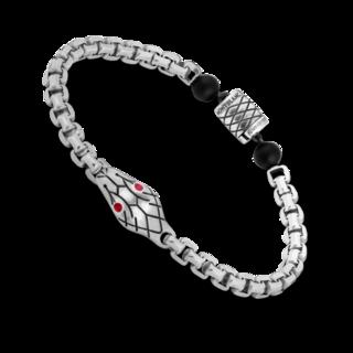 Montblanc Armband Venezianerketten-Armband in Silber mit Schlangenmotiv und Onyxkugeln 12405368