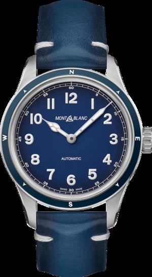 Herrenuhr Montblanc 1858 Automatic mit blauem Zifferblatt und Kalbsleder-Armband