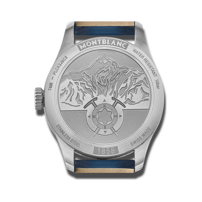 Herrenuhr Montblanc 1858 Automatic mit blauem Zifferblatt und Kalbsleder-Armband bei Brogle
