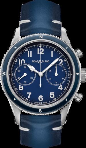 Herrenuhr Montblanc 1858 Automatic Chronograph mit blauem Zifferblatt und Kalbsleder-Armband
