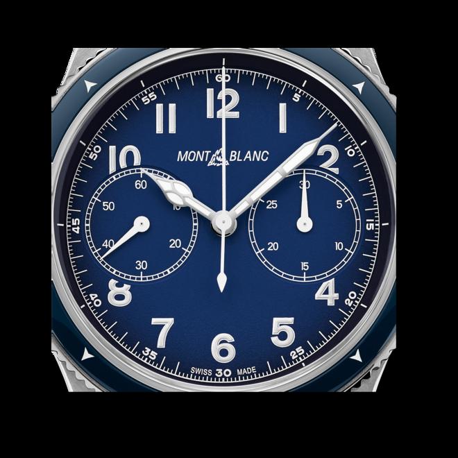 Herrenuhr Montblanc 1858 Automatic Chronograph mit blauem Zifferblatt und Kalbsleder-Armband bei Brogle