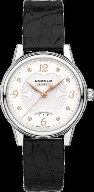 Damenuhr Montblanc Bohème Automatik 30mm mit Diamanten, weißem Zifferblatt und Alligatorenleder-Armband
