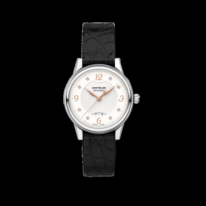 Damenuhr Montblanc Bohème Automatik 30mm mit Diamanten, weißem Zifferblatt und Alligatorenleder-Armband bei Brogle