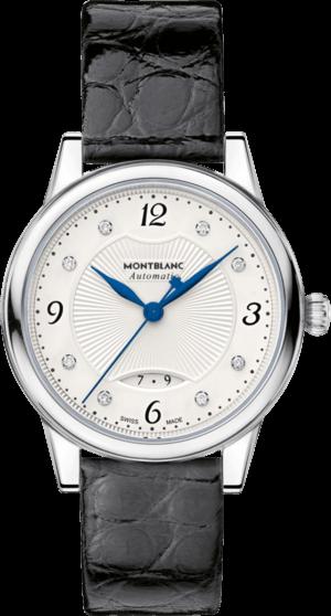 Damenuhr Montblanc Bohème Date Automatic mit Diamanten, silberfarbenem Zifferblatt und Alligatorenleder-Armband