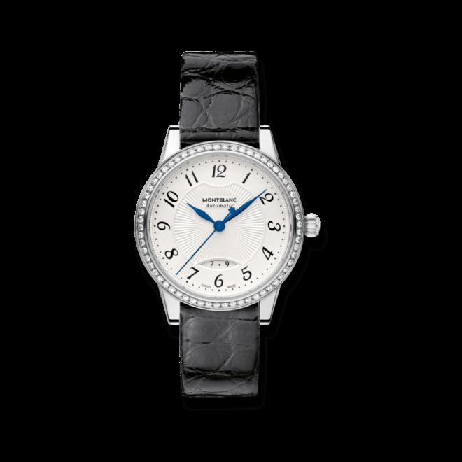 Damenuhr Montblanc Bohème Date Automatic mit Diamanten, silberfarbenem Zifferblatt und Alligatorenleder-Armband bei Brogle