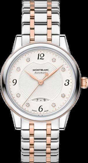 Damenuhr Montblanc Bohème Date Automatic mit Diamanten, silberfarbenem Zifferblatt und Edelstahlarmband