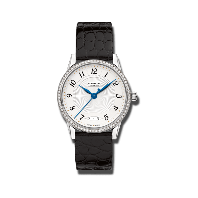 Damenuhr Montblanc Bohème Date Automatic mit Diamanten, weißem Zifferblatt und Alligatorenleder-Armband