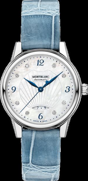 Damenuhr Montblanc Bohème Date Automatic mit Diamanten, perlmuttfarbenem Zifferblatt und Alligatorenleder-Armband