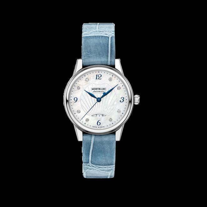Damenuhr Montblanc Bohème Date Automatic mit Diamanten, perlmuttfarbenem Zifferblatt und Alligatorenleder-Armband bei Brogle