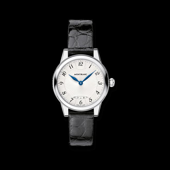 Armbanduhr Montblanc Bohème Date Quartz mit silberfarbenem Zifferblatt und Alligatorenleder-Armband