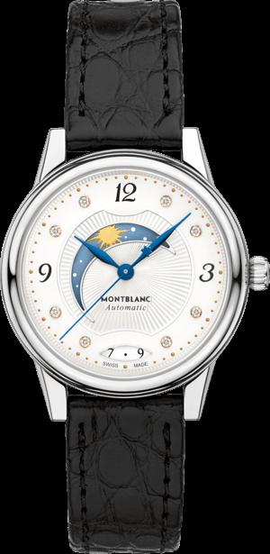 Damenuhr Montblanc Bohème Day & Night mit Diamanten, weißem Zifferblatt und Alligatorenleder-Armband
