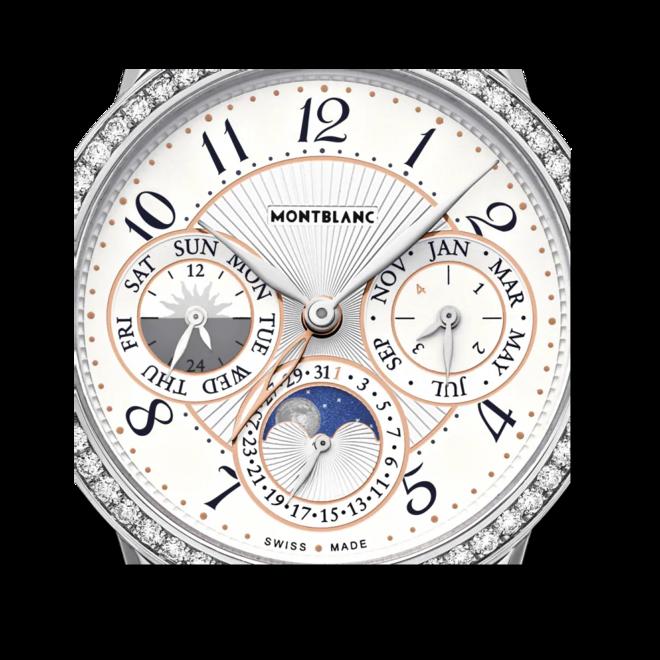 Damenuhr Montblanc Bohème Manufacture Perpetual Calendar mit Diamanten, silberfarbenem Zifferblatt und Alligatorenleder-Armband bei Brogle