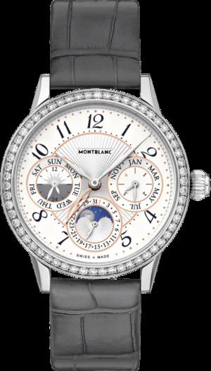 Damenuhr Montblanc Bohème Manufacture Perpetual Calendar mit Diamanten, silberfarbenem Zifferblatt und Alligatorenleder-Armband