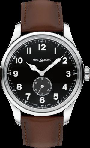 Herrenuhr Montblanc 1858 Automatic Small Second mit schwarzem Zifferblatt und Kalbsleder-Armband