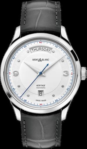 Herrenuhr Montblanc Automatic Day Date mit silberfarbenem Zifferblatt und Alligatorenleder-Armband