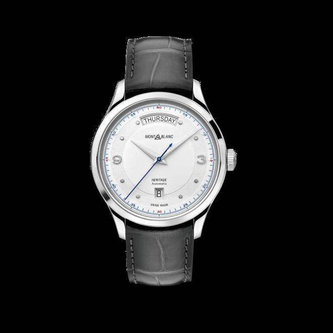 Herrenuhr Montblanc Automatic Day Date mit silberfarbenem Zifferblatt und Alligatorenleder-Armband bei Brogle