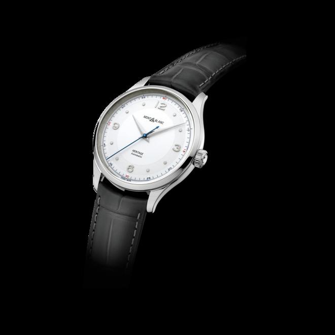 Armbanduhr Montblanc Heritage Automatik 40mm mit silberfarbenem Zifferblatt und Alligatorenleder-Armband bei Brogle