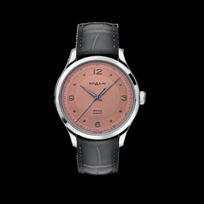 Armbanduhr Montblanc Heritage Automatik 40mm mit rosafarbenem Zifferblatt und Alligatorenleder-Armband bei Brogle