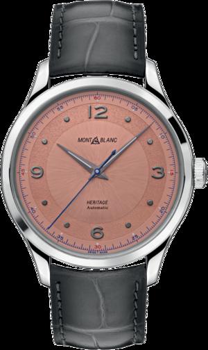 Armbanduhr Montblanc Heritage Automatik 40mm mit rosafarbenem Zifferblatt und Alligatorenleder-Armband