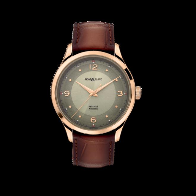 Armbanduhr Montblanc Heritage Automatik 40mm mit grünem Zifferblatt und Alligatorenleder-Armband bei Brogle
