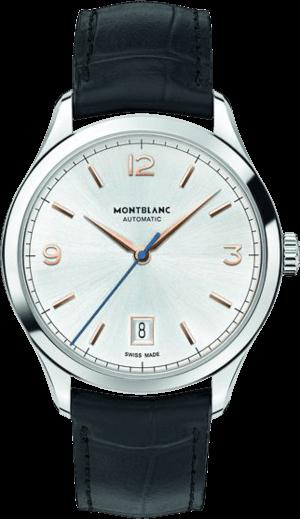 Herrenuhr Montblanc Heritage Chronométrie Automatic mit silberfarbenem Zifferblatt und Alligatorenleder-Armband