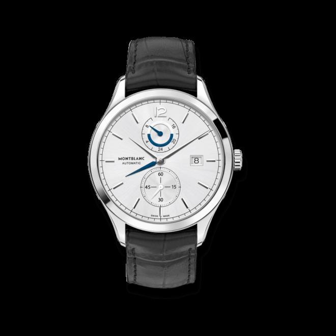 Herrenuhr Montblanc Heritage Chronométrie Dual Time mit silberfarbenem Zifferblatt und Alligatorenleder-Armband