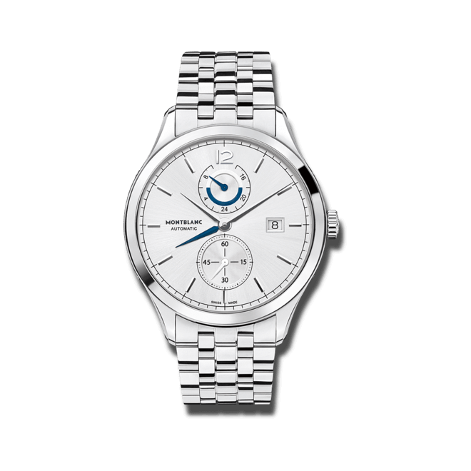 Herrenuhr Montblanc Heritage Chronométrie Dual Time mit silberfarbenem Zifferblatt und Edelstahlarmband