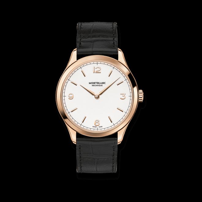Herrenuhr Montblanc Heritage Chronométrie Handaufzug mit weißem Zifferblatt und Alligatorenleder-Armband