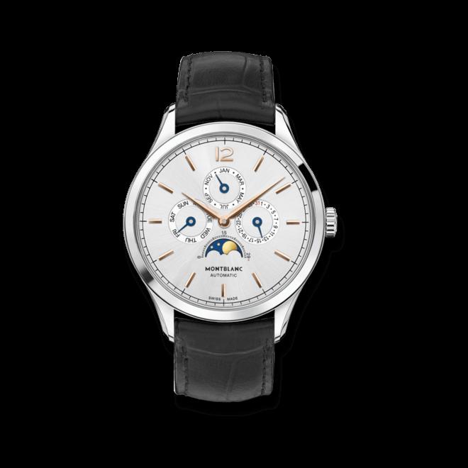 Herrenuhr Montblanc Heritage Chronométrie Quantième Annuel mit silberfarbenem Zifferblatt und Alligatorenleder-Armband