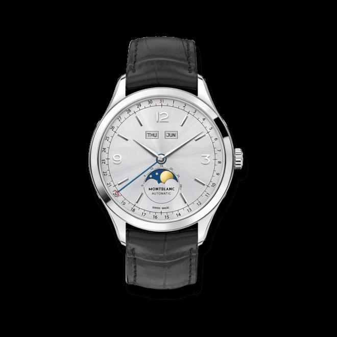 Herrenuhr Montblanc Heritage Chronométrie Quantième Complet mit silberfarbenem Zifferblatt und Alligatorenleder-Armband