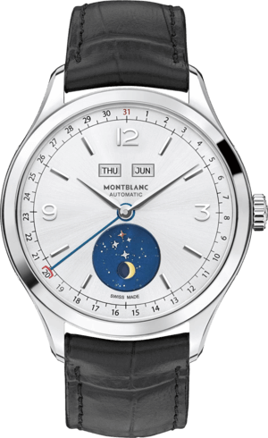 Herrenuhr Montblanc Heritage Chronométrie Quantième Complet Vasco da Gama mit silberfarbenem Zifferblatt und Alligatorenleder-Armband