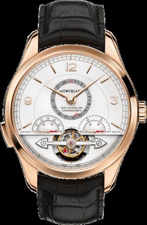 Herrenuhr Montblanc ExoTourbillon Minute Chronograph mit weißem Zifferblatt und Alligatorenleder-Armband