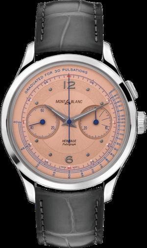 Armbanduhr Montblanc Pulsograph Limited Edition mit rosafarbenem Zifferblatt und Alligatorenleder-Armband