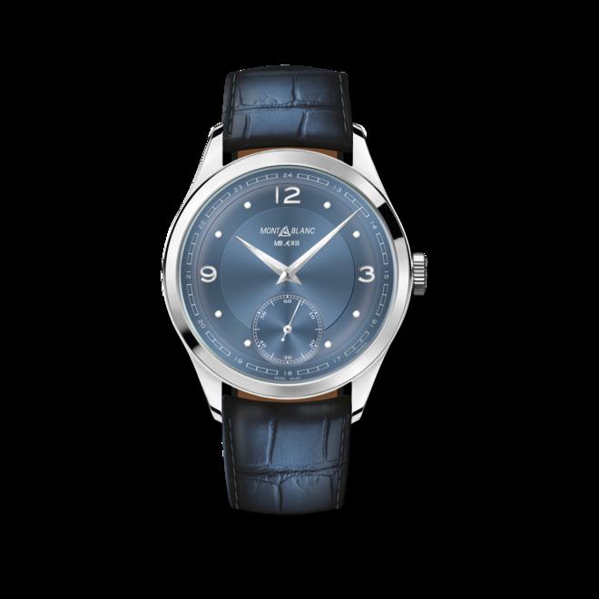 Armbanduhr Montblanc Heritage Pythagore Small Second mit blauem Zifferblatt und Alligatorenleder-Armband bei Brogle