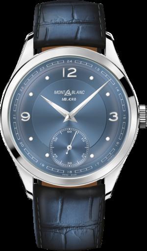 Armbanduhr Montblanc Heritage Pythagore Small Second mit blauem Zifferblatt und Alligatorenleder-Armband