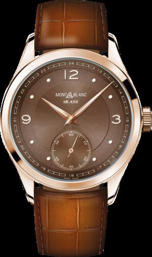 Armbanduhr Montblanc Heritage Pythagore Small Second mit braunem Zifferblatt und Alligatorenleder-Armband