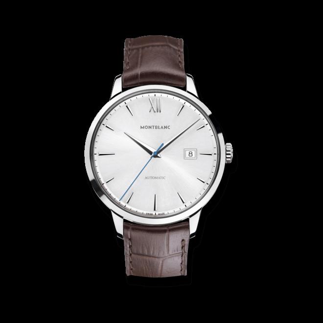 Herrenuhr Montblanc Heritage Spirit Date Automatic mit weißem Zifferblatt und Alligatorenleder-Armband